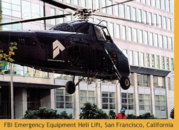 Heli-lift for high-rise equipment installation, FBI Mechanical Renovation Project. San Francisco, California