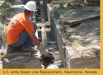 U.S. Army Underground Steam Line Replacement Project. Hawthorne, Nevada